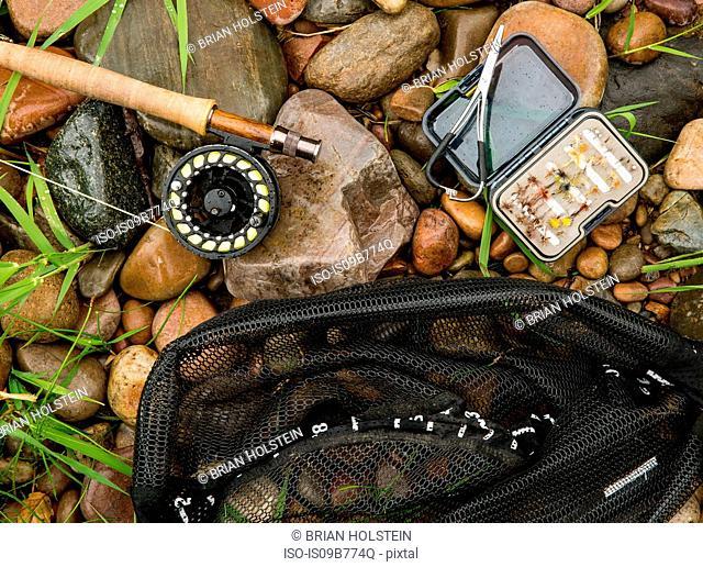 Fishing rod, bait and net