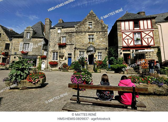 France, Morbihan, Rochefort en Terre, labelled Les Plus Beaux Villages de France (The Most Beautiful Villages of France), Place du puits