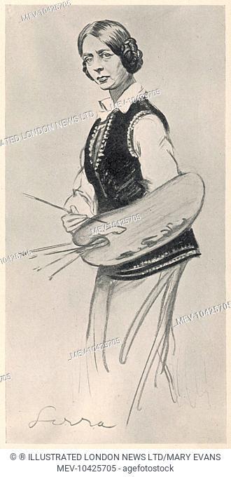Dame Laura Knight (1877-1970), British artist caricatured by Sirra