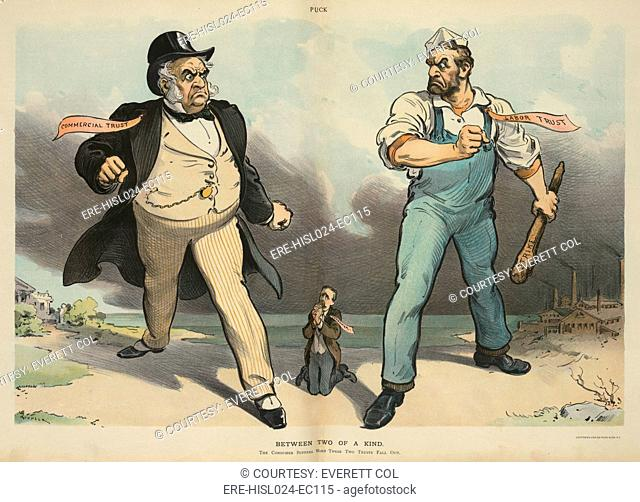 BETWEEN TWO OF A KIND. Cartoon portrays labor unions as a 'trust' comparable to a business 'trust.' Both are depicted as giants victimizing the small vulnerable...
