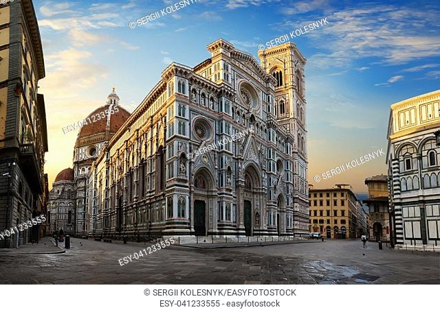 Facade of famous basilica in Florence at sunrise