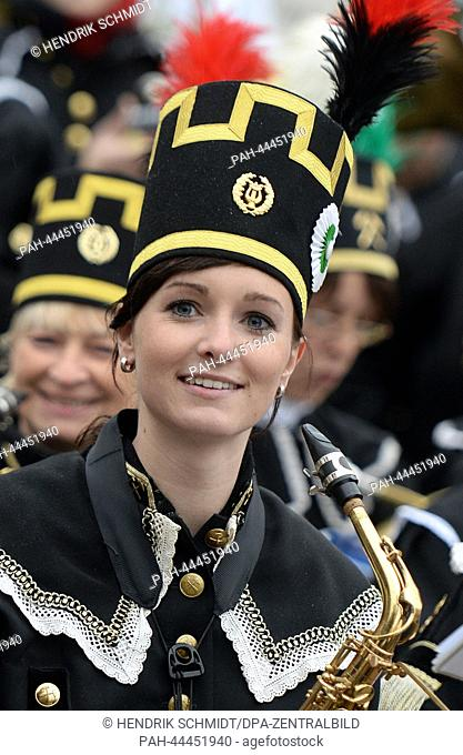 A young musician from the miners' marching band 'GlueckAuf' from Oelsnitz .takes part in the first Miners' Parade in Chemnitz,Germany, 30 November 2013