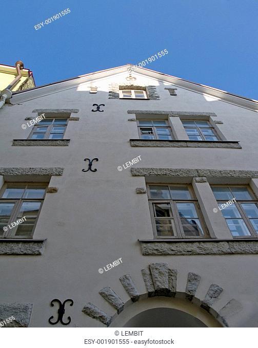 Streets of ancient city, Facades in capital of Estonia Tallinn