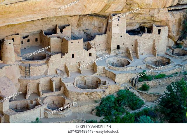 The Cliff Palace dwelling in Mesa Verde National Park in a rare quiet moment without tourists