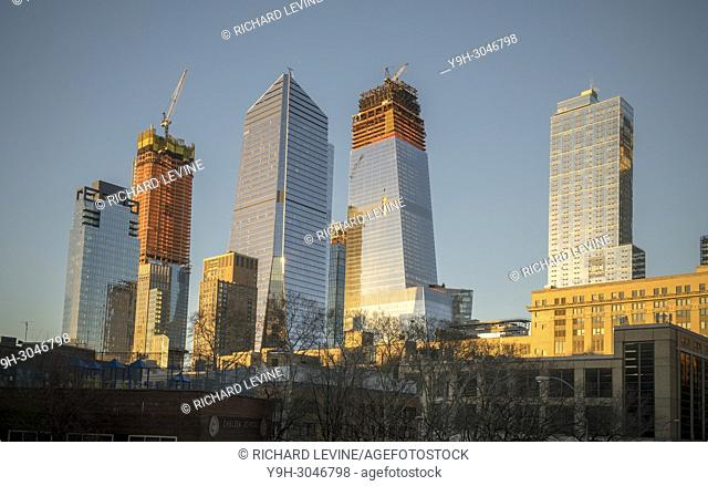 10 Hudson Yards, center left, 30 Hudson Yards, center right, and other Hudson Yards development in New York on Saturday, January 13, 2018