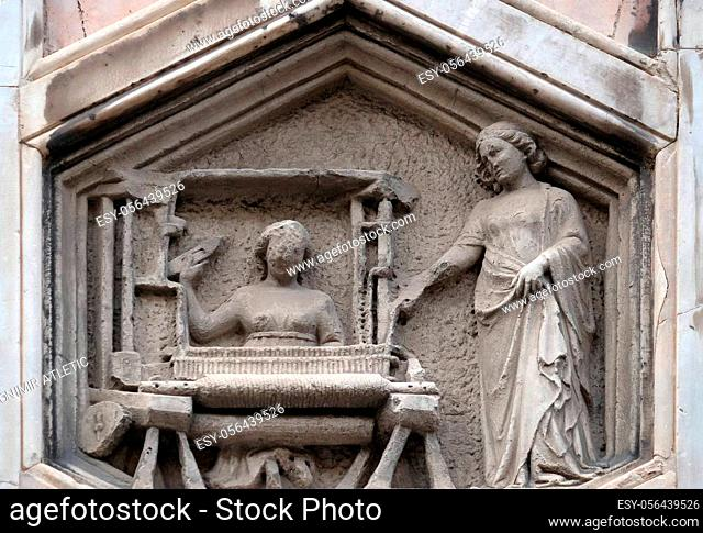 The Art of Weaving from the workshop of Andrea Pisano, Relief on Giotto Campanile of Cattedrale di Santa Maria del Fiore (Cathedral of Saint Mary of the Flower)