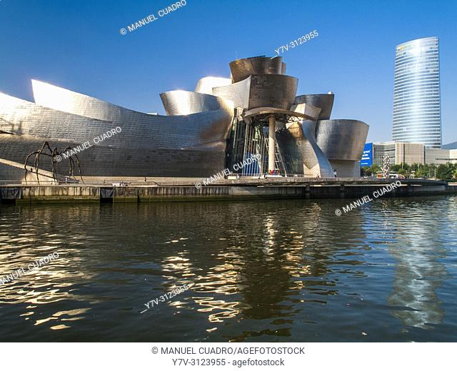 Guggenheim Museum and Torre Iberdrola. Bilbao, Biscay, Basque Country, Spain
