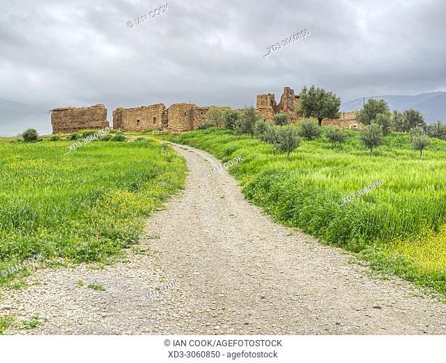 building ruins near Ouzoud, Middle Atlas Mountains, Morocco