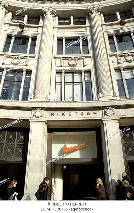 England, London, Oxford Street, The entrance to the Niketown department store on Oxford Street
