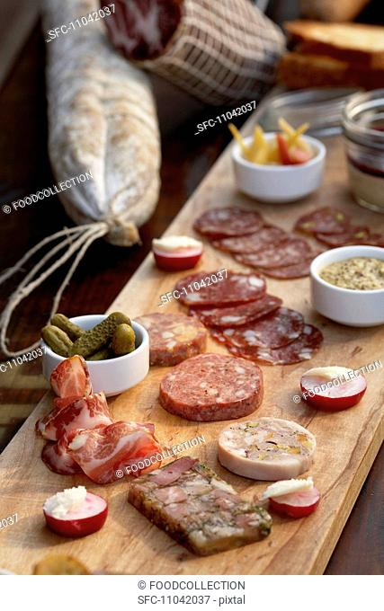Planchette de Charcuterie, Wild Boar Salami, Pates and Terrines, Pickles