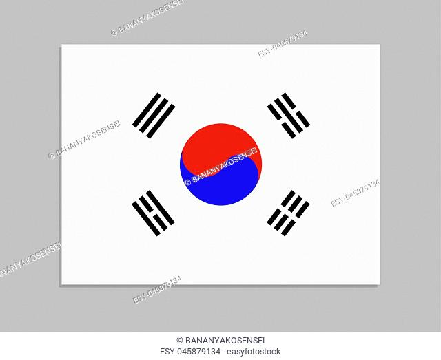 Vector Korean Flag, Official Country Symbol, Isolated on Gray Background Flat Object with Shadow, South Korea