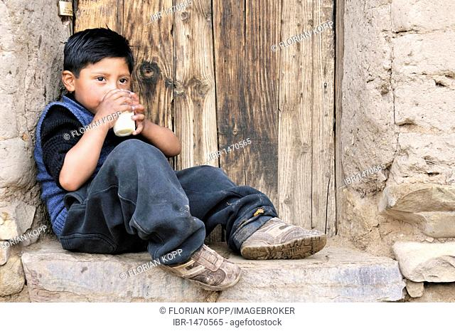 A boy leaning against a wall with a glass of milk, Bolivian Altiplano highlands, Departamento Oruro, Bolivia, South America