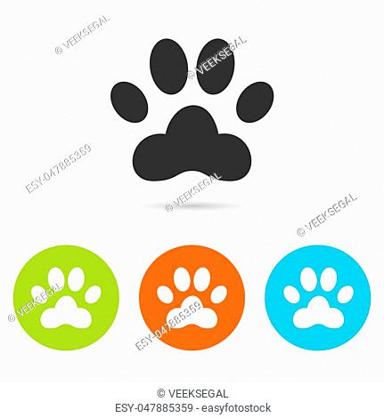 Dog paw icon. Dog paw flat symbol. Dog paw art illustration. Dog paw flat sign. Dog paw graphic icon. Flat icons in circles. Round buttons for web