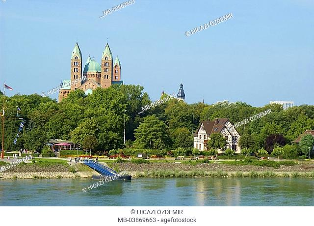 Germany, Rhineland-Palatinate, Speyer, cathedral to Speyer, timbering-house, river Rhine destination sight culture UNESCO-Weltkulturerbe, emperor-cathedral