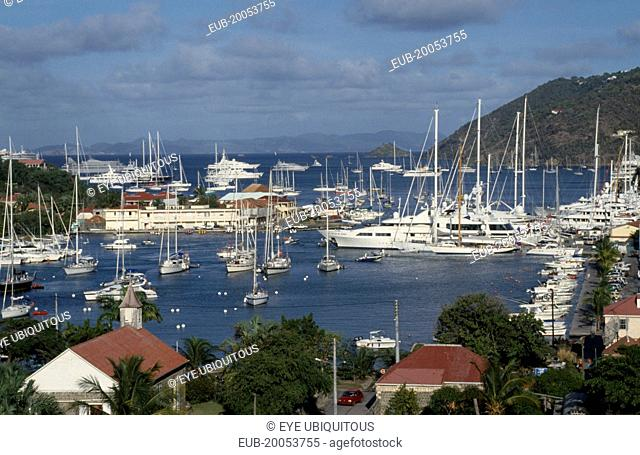 View over the port with yachts moored on water