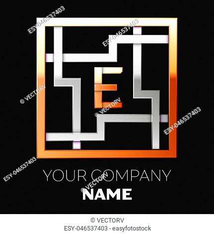 Realistic Golden Letter E logo symbol in the silver-golden colorful square maze shape on black background. The logo symbolizes labyrinth, choice of right path