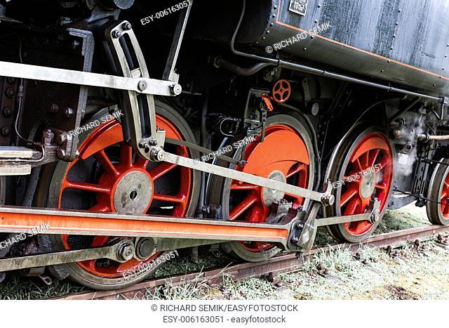 detail of steam locomotive, Czech Republic
