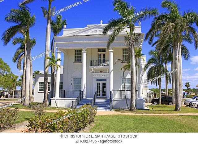The Old Collier County Courthouse, a historic building located in Everglades City, Florida USA