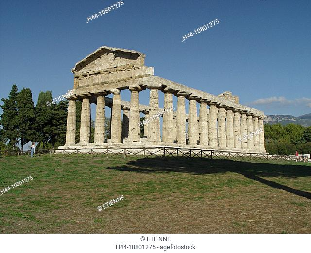 antique, antiquity, Campagna, columns, Dorian, Doric, Italy, Europe, Paestum, ruins, temple