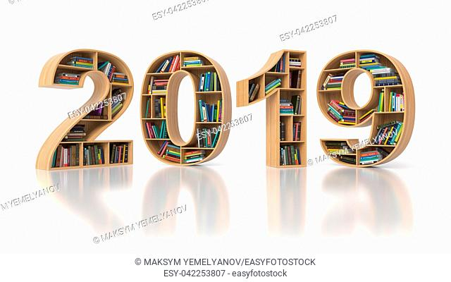 2019 new year education concept. Bookshelvs with books in the form of text 2019. 3d illustration