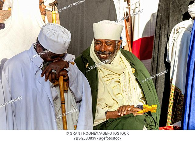 Church Priests and Deacons Taking Part In The Christmas Day Celebrations At Beite Maryam Church, Lalibela, Ethiopia