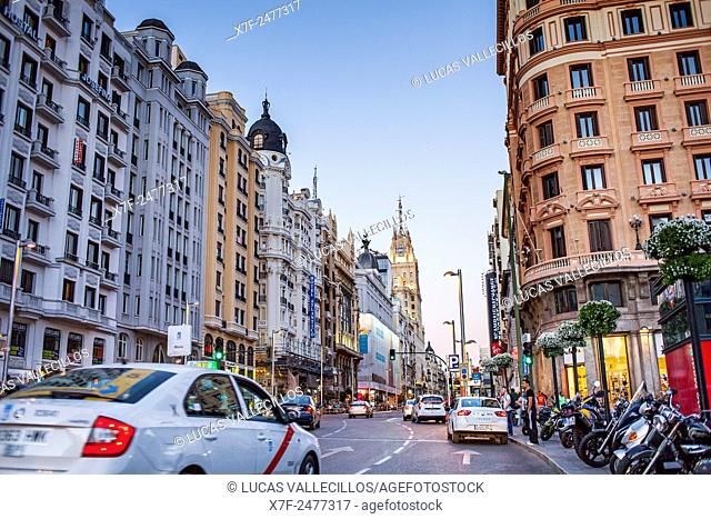 Gran Via street, Madrid Spain