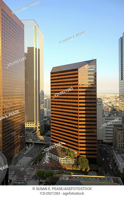 A view from the BonaVista Lounge in the Westin Bonaventure Hotel, Downtown Los Angeles, California, United States