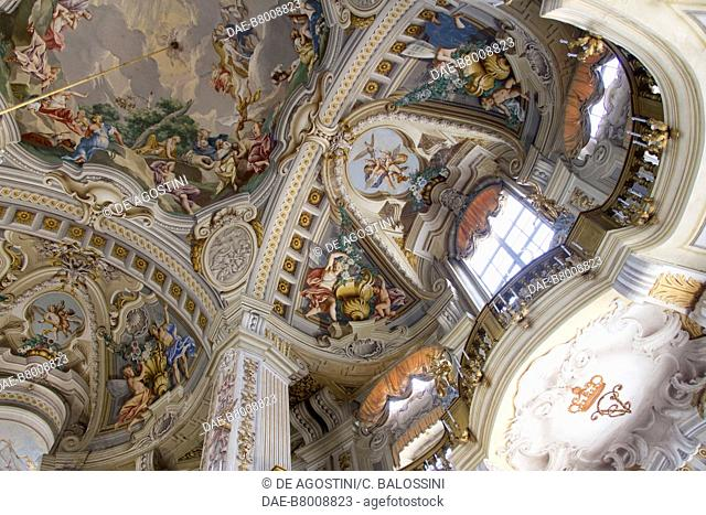 Glimpse of the central hall with frescoes, by Domenico and Giuseppe Valeriani, Hunting residence (UNESCO World Heritage Site, 1997)