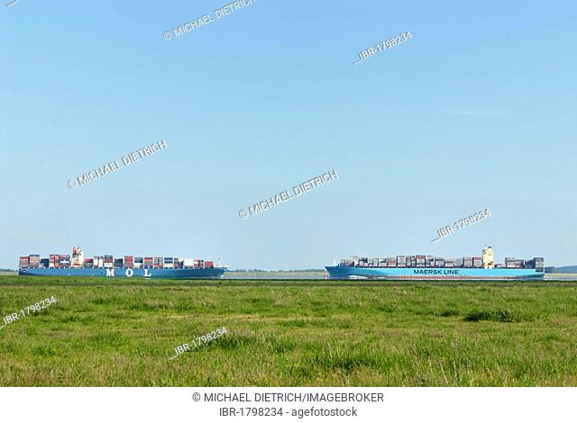 Two container vessels passing each other on the Lower Elbe river, Dithmarschen district, Schleswig-Holstein, Germany, Europe