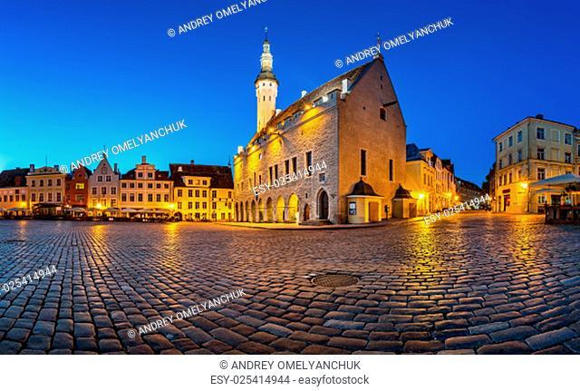 Tallinn Town Hall and Raekoja Square in the Morning, Tallinn, Estonia