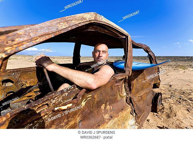Surfers car has seen better days