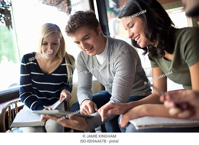 Group of people studying together in cafe