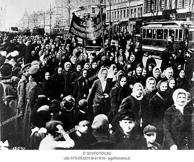 International women's day, women (mainly textile workers) demonstrate on petrograd's (st, petersburg) nevsky prospect shortly after the establishment of a...
