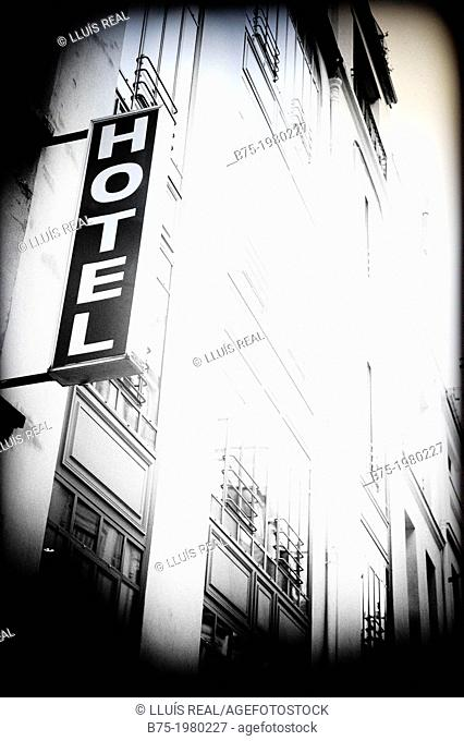 Sign post of Hotel in Paris, France, Europe
