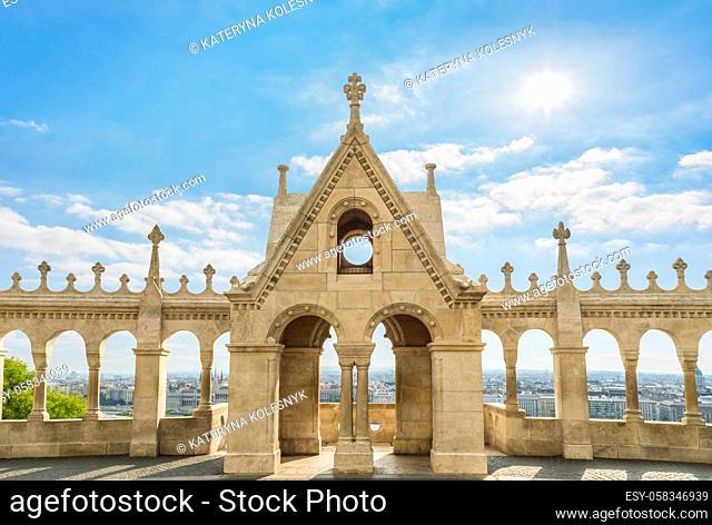 Fisherman Bastion and panoramic view of Budapest city, Hungary
