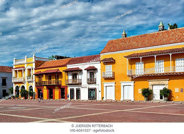 historical facade at Plaza de la Aduana, Cartagena de Indias, Colombia, South America - Cartagena de Indias, Colombia, 29/08/2017