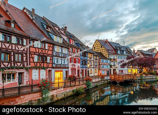 Area little Venice (la Petite Venise) in Colmar, Alsace, France. Evening