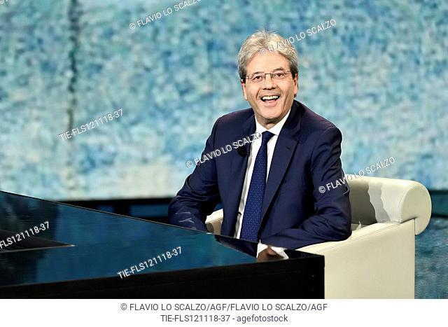 Former Italian Prime Minister Paolo Gentiloni during the tv show Che tempo che fa, Milan, ITALY- 11-11-2018