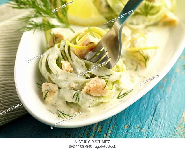 Tagliatelle verdi al salmone spinach tagliatelle with a salmon sauce