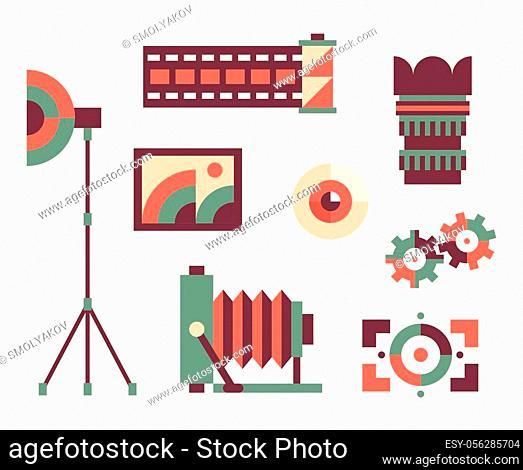 Vector flat illustration, icon set of photo: camera, lens, eye, focus film umbrella