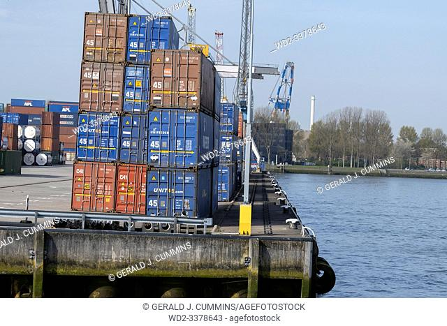 Netherlands, Rotterdam, 2018/04, Stacked refrigerated, cargo containers waiting to be used