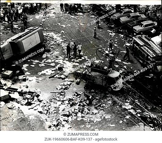 Jun. 06, 1966 - Police Fire on Demonstrating '(Illegible)' the Royal Please in Amsterdam today. Six people were wounded