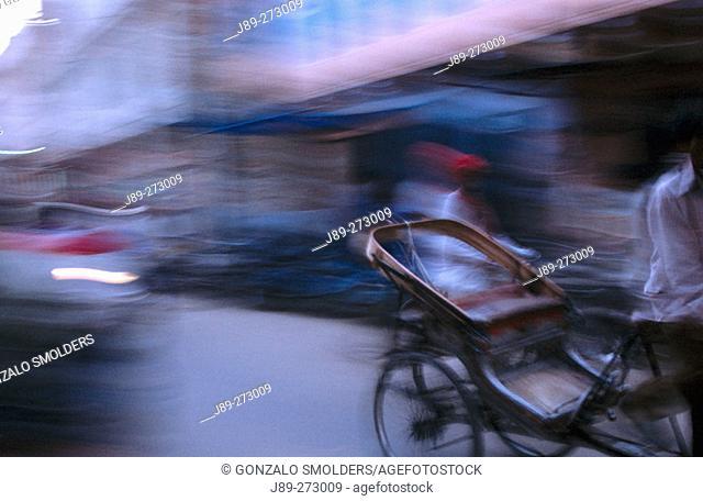 Rickshaw in a street of Jaipur. Rajasthan. India