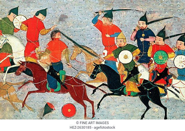 Ghenghis Khan in combat. Miniature from Jami' al-tawarikh (Universal History), ca 1430. Artist: Anonymous