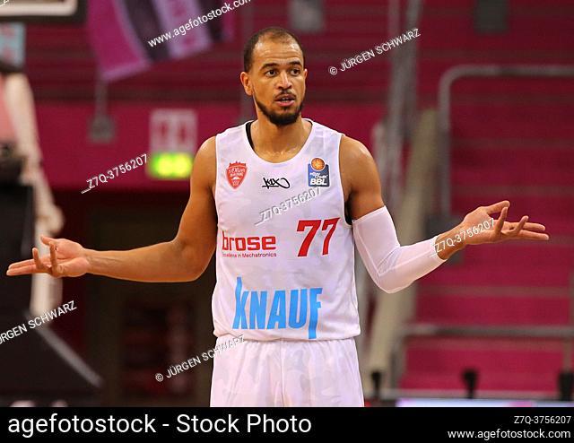 Bonn, Germany, 09. 01. 2021, Telekom Dome, Basketball Bundesliga, Telekom Baskets Bonn vs s. Oliver Wuerzburg: Alex Kink (Wuerzburg) gestures