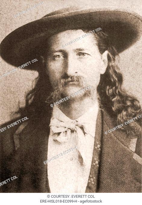 Wild Bill Hickok was a celebrated gunfighter lawman in frontier territories of Kansas and Nebraska. Portrait, ca. 1870