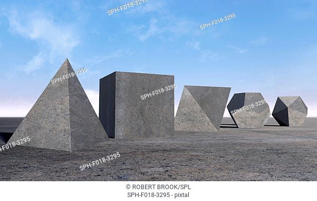 The five Platonic solids in an empty desert landscape. Thought to have been discovered in ancient Greece, they were written about by Plato