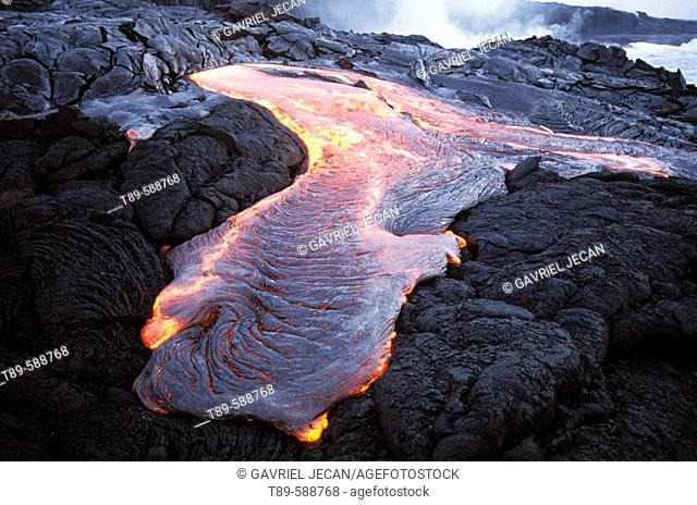 Lava flow in the Volcano Active area. Hawaii