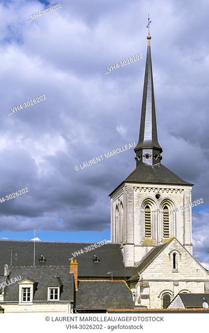 Crooked Spire of Saint Peter Church at Saumur, Maine et Loire, Pays de la Loire Region, Loire Valley, France, Europe