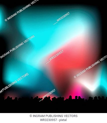 Concert light with the crowd in black silhouette with nights sky